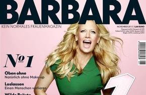 Gruner+Jahr, BARBARA: Endlich am Kiosk: Gruner + Jahr launcht BARBARA / Das erste Live-Zeitschriftencover zum Start von BARBARA: Große Fotoaktion mit Barbara Schöneberger am 15. Oktober im Berliner KaDeWe