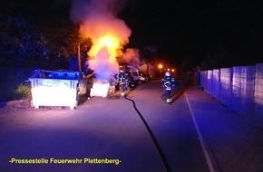 Feuerwehr Plettenberg: FW-PL: Müllcontainerbrand und zwei automatische Feuermeldungen