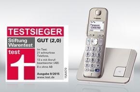 Panasonic Deutschland: Stiftung Warentest: Testsieg für das Panasonic Großtastentelefon KX-TGE210 / Schwestermodell KX-TGE220 bestes Gerät mit Anrufbeantworter / Panasonic KX-TGK320 bestes Designtelefon im Test
