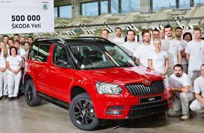 Skoda Auto Deutschland GmbH: Erfolgreiches Kompakt-SUV: 500.000 SKODA Yeti in Kvasiny produziert