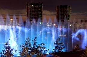 """Autostadt GmbH: Northern Lights: Start der Wassershows in der Autostadt / Bei der weltweit einmaligen Inszenierung aus Wasser, Feuer und Licht dreht sich vom 2. bis zum 31. Juli alles um die """"Traumrouten des Nordens"""""""