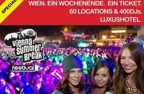 Agentur sicom WerbeGmbH: VIENNA SUMMERBREAK FESTIVAL: Ein Wochenende. Ein Ticket. 60 Locations. 400DJs. Luxushotel