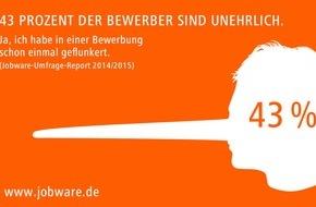 Jobware Online-Service GmbH: 43 Prozent der Bewerber sind unehrlich / Jobbörse Jobware deckt mangelnde Ehrlichkeit bei Bewerbern auf