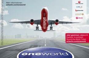 """Air Berlin PLC: Neue Werbekampagne von airberlin und oneworld / """"oneworld Explorer 4-continent Round-the-World Ticket"""" zu gewinnen (mit Bild)"""