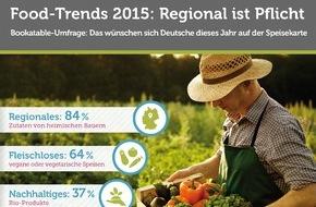 Bookatable GmbH & Co.KG: Food-Trends 2015: Regional weiterhin auf dem Vormarsch / Bookatable-Umfrage: 84 Prozent der Gäste erwarten regionale Produkte im Restaurant; auch vegetarische Speisen sind immer gefragter