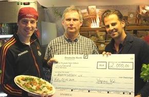 Mukoviszidose e.V.: Mukoviszidose e.V. bekommt 2.000 Euro von THW-Star Klein und dem Vapiano in Kiel/Gemeinsam Mukoviszidose besiegen