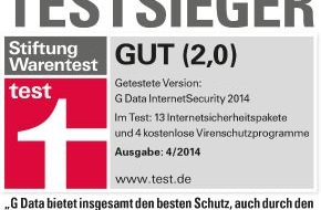 G Data Software AG: G Data InternetSecurity ist Testsieger bei Stiftung Warentest