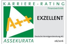 DVAG Deutsche Vermögensberatung AG: Karriere-Rating 2016 attestiert: Deutsche Vermögensberatung AG (DVAG) bietet exzellente Berufschancen, Unterstützung und Ausbildung für Vermögensberater