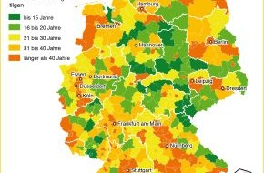 Deutsche Postbank AG: Postbank-Studie: So lange brauchen die Deutschen für die Tilgung ihrer Immobilienkredite / In knapp der Hälfte der Kommunen braucht ein Durchschnittsverdiener keine 30 Jahre