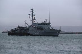 """Presse- und Informationszentrum Marine: Minentauchereinsatzboot """"Bad Rappenau"""" kehrt aus NATO-Einsatz zurück"""