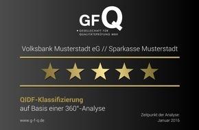 """Gesellschaft für Qualitätsentwicklung in der Finanzberatung mbH: Auszeichnung von """"5-Sterne-Banken"""" auf Basis der """"QIDF-360°-Analyse"""""""