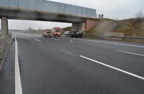 Polizeiinspektion Hildesheim: POL-HI: Sekundenschlaf auf BAB 7 - Verkehrsunfall mit leicht verletzter Person und 10km Rückstau