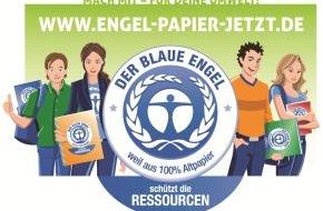 """Blauer Engel: Online-Demo: Jugendliche fordern zum Schulstart 2013 """"Engel-Papier. Jetzt!"""" / 100% Recyclingpapier ist trotz Bestnoten immer noch der Hinterbänkler in Deutschlands Klassenzimmern"""