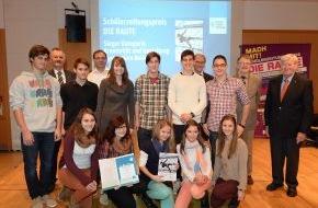 Hanns-Seidel-Stiftung: Schülerzeitungspreis DIE RAUTE verliehen / Hanns-Seidel-Stiftung zeichnet fünfzehn Schulen aus