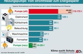 co2online gGmbH: Stromkosten: Alte Heizungspumpen verbrauchen so viel wie Fernseher und Waschmaschine zusammen / Sparpotenzial von 120 Euro jährlich