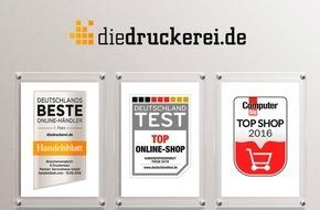 Onlineprinters GmbH: diedruckerei.de von Handelsblatt, FOCUS und COMPUTER BILD ausgezeichnet / Hohe Service-Qualität beim Onlinehandel mit Druckprodukten bestätigt