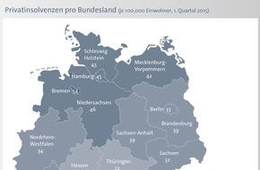 BÜRGEL Wirtschaftsinformationen GmbH & Co. KG: Privatinsolvenzen sinken um 8,7 Prozent / Norden bleibt Insolvenz-Hochburg - Einziger Anstieg im Saarland (FOTO)