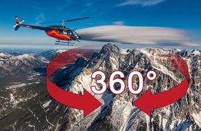 Hubschrauberflug.de: Die Zugspitze im 360-Grad-Video: Hubschrauberflug auf den höchsten Berg Deutschlands