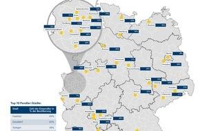 """Deutsche Postbank AG: Postbank Studie """"Wohnatlas 2016"""": Wie Pendler die Immobilienmärkte entlasten / Hohe Immobilienpreise sorgen für Sog in Richtung Stadtrand / Pendler-Hochburgen sind Frankfurt, Düsseldorf und Stuttgart"""