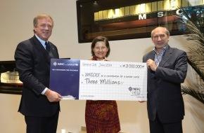 MSC Kreuzfahrten: MSC Cruises fait un don de 3 millions d'euros à l'UNICEF / La compagnie de croisières s'engage aux côtés du Fonds pour l'enfance dans la lutte contre la malnutrition.