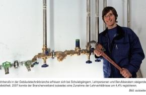 suissetec - Schweizerisch-Liechtensteinischer Gebäudetechnikverband: suissetec - Über 6500 Lehrlinge in der Gebäudetechnikbranche - Zunahme der Lehrstellen um 4.4 Prozent gegenüber dem Vorjahr