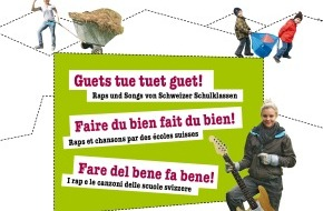 """Migros-Genossenschafts-Bund Direktion Kultur und Soziales: Migros-Kulturprozent: Gewinner des Songtext-Wettbewerb """"Guets tue tuet guet!"""" 2012/2013 / Schweizer Schulklassen rappen und singen für freiwilliges Engagement"""