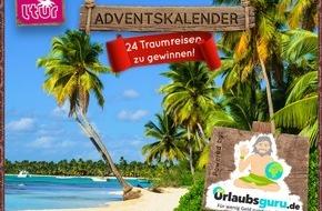 UNIQ GmbH: 24 Traumreisen zu gewinnen: Urlaubsguru.de startet Deutschlands attraktivsten Adventskalender / Party in Las Vegas, Familienurlaub auf Mallorca und mehr: Traumreisen bei Urlaubsguru.de gewinnen