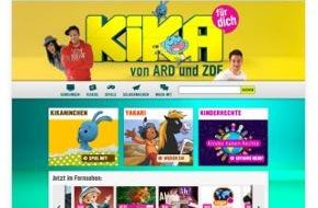 Der Kinderkanal ARD/ZDF: Frisches Design mit neuen Funktionen: Der Relaunch von kika.de / Neu konzipierte Homepage des Kinderkanals von ARD und ZDF geht am 12. November online