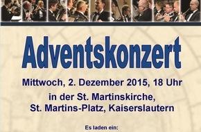 Polizeipräsidium Westpfalz: POL-PPWP: Landespolizeiorchester Rheinland-Pfalz gastiert in Kaiserslautern  Drittes Adventskonzert am 2. Dezember 2015 in der St. Martinskirche