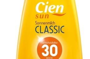 """LIDL: Cien Sun Sonnenmilch: Testsieger bei Stiftung Warentest / Die Sonnenmilch der Lidl-Qualitätseigenmarke Cien Sun überzeugt mit der Note """"gut"""""""