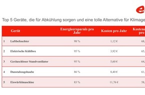 E.ON Energie Deutschland GmbH: E.ON-Ranking: Mit diesen Geräten wird die Hitze im Sommer erträglich / Mit coolen Tipps für heiße Tage fast 70 Euro sparen