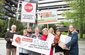 Campact e.V.: 65 000x Einspruch gegen Syngenta-Patent auf Tomaten / Rekord bei Masseneinspruch - Übergabe am Europäischen Patentamt