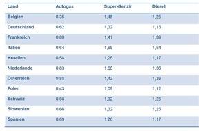 Deutscher Verband Flüssiggas e. V.: Mit Autogas wird der Oster-Urlaub günstig - Tanken für wenige Cent pro Liter: Autogas-Preise in den Urlaubsländern