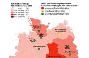 CHECK24 Vergleichsportal GmbH: Drahtesel in Diebstahlhochburgen besonders oft versichert
