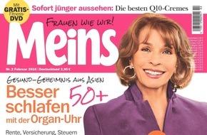 Bauer Media Group, Meins: Repräsentative Umfrage von Meins: Die 50 beliebtesten Frauen 50plus - Senta Berger siegt vor Iris Berben und Hannelore Elsner/Angela Merkel belegt Platz 15 und ist die beliebteste Politikerin 50plus