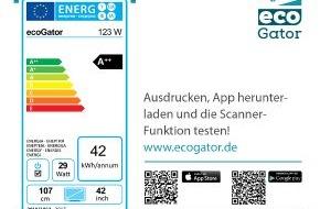 co2online gGmbH: ecoGator findet sparsame Haushaltsgeräte / Neue kostenlose Verbraucher App / 3-Personenhaushalt zahlt jährlich 440 Euro Strom für Haushaltsgeräte / Unabhängige Kaufberatung mit Energielabel-Scanner