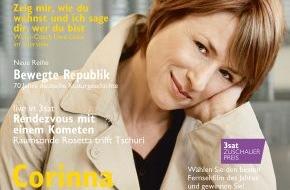 """3sat: """"Gefälligsein ist was für andere""""/ Corinna Harfouch im neuen """"3sat TV- & Kulturmagazin"""" / Das vierteljährlich erscheinende Heft ist ab 19. September im Handel erhältlich"""