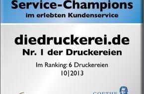 Onlineprinters GmbH: diedruckerei.de ist Service-Champion 2013 / Druckereien im Kundenurteil des großen deutschen Service-Rankings