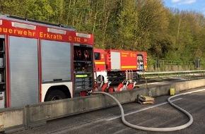 Feuerwehr Erkrath: FW-ME: PKW-Brand auf der BAB 3 mit Gewässerverunreinigung