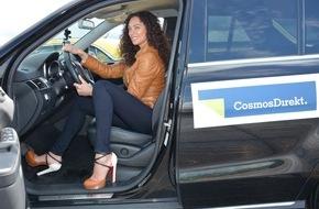 """CosmosDirekt: """"Chicas da draußen - keine High Heels hinterm Steuer!"""" / Jorge González und Lilly Becker testen Fahrtauglichkeit von Stilettos und Co. in Berlin"""