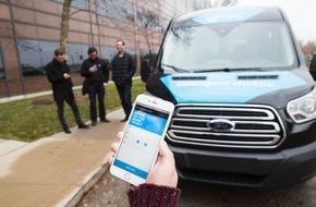 """Ford-Werke GmbH: Zubringerdienst für Ford-Mitarbeiter: Das Experiment """"Dynamic Shuttle Service"""" ist auf dem Weg zur Realität"""