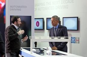 ZF Friedrichshafen AG: US-Präsident Obama besucht ZF-Stand auf der NAIAS in Detroit