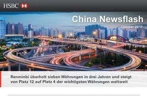 HSBC Deutschland: Chinesischer Renminbi jetzt wichtigste Währung Asiens