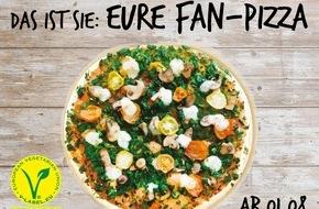 """LIDL: Die vegane """"Lidl-Fan-Pizza"""" kommt jetzt in alle Lidl-Filialen / 2 Millionen Lidl-Facebook-Fans konnten ihre Lieblingspizza zusammenstellen - ab dem 1. August ist der Fan-Favorit bundesweit erhältlich"""