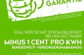 mk-group Holding GmbH: Strom mit Bestpreisgarantie / Immer einen Cent pro kWh günstiger, in Deutschland, Österreich und der Schweiz, versorgerunabhängig
