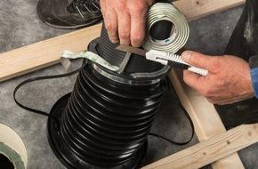 MOLL bauökologische Produkte GmbH: Neue patentierte Lösung für eine lückenlose Gebäudehülle / Rohrdurchführung WILLFIX für druckfeste Aufdachdämmungen