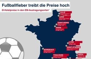 HRS - Hotel Reservation Service: Europa im Fußballfieber: Hotelpreise in den Austragungsorten steigen während der Europameisterschaft deutlich an