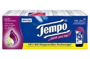 Tempo: Wissen, wann der Schnupfen zuschlägt: Tempo sanft und frei launcht zusammen mit Otriven neues Grippevorhersage-Portal
