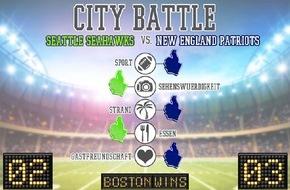 UNIQ GmbH: Super Bowl in den USA: Städte-Battle zwischen Seattle und Boston ist bei Urlaubsguru.de schon entschieden! / Gute Karten für New England Patriots / Fun Facts zum weltweiten Großereignis