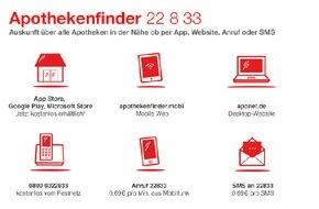 ABDA Bundesvgg. Dt. Apothekerverbände: Silvester und Neujahr: Mit dem Handy die 22 8 33 wählen und überall die nächste Notdienstapotheke finden
